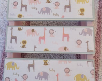 Jungle Theme Pink And Grays Decoupage Slatted Wood Step Stool