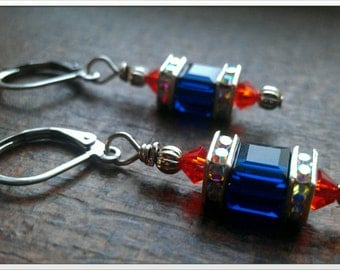 Denver Broncos Inspired Swarovski  Crystal Earrings