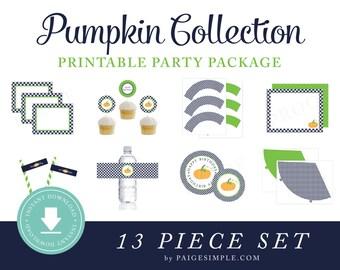 INSTANT DOWNLOAD Pumpkin Printable Party Package (Pumpkin Birthday, Pumpkin Party Instant Download, Pumpkin Party Decorations)