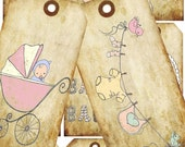 INSTANT DOWNLOAD Digital Collage handrawn baby shower illustration on tags