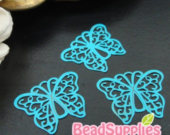 CH-ME-10136F- Color enameled,  Filigree butterfly computer-cut plate, turquoise blue, 4 pcs