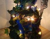 Enchanting .....Blue Cobalt Gourd Fairy House....Lites......OOAK