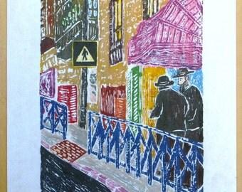 Street Scene - Jerusalem, Original Woodcut, Woodblock Print on Mulberry Paper, Multiple colors printed from multiple blocks