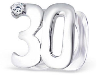 NUMBER 30 THIRTY 30th Birthday Charm Bead Charm Bead 925 Sterling Silver Fits  All European Charm Bracelets