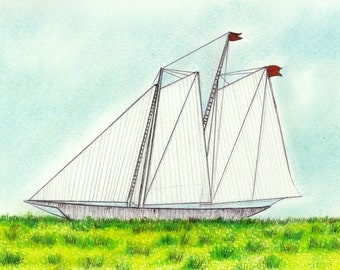 "Landlocked Ship art print of an original drawing available 5x7"" or 8x10"""