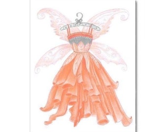 Girls Room Fairies Decor, Peach Fairies Wall Art, Girls Wall Art, Nursery Fairies Art, Girl Nursery, Kids Decor, Kids Wall Art