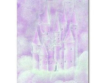 Princess Purple Castle, Kids Decor, Nursery Decor, Kids Wall Art, Girls room Decor, Baby Girl Nursery, Castle Art Print 8x10