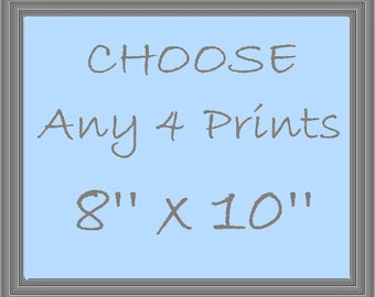 Choose any 4 Art Prints, Set of Four Prints  8''x10'' , Nursery Decor, Kids room Decor, Nursery Wall Art, Children room Decor