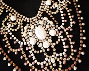Custom Vintage White Rhinestone Statement Necklace