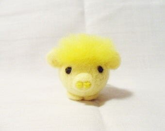 Needle Felted Pig -  miniature yellow pig figure - 100% merino wool  - wool felt pig