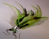Feather Earrings, Lime Green, Swarovski Crystals, lime green and black feathers, silver hypo allergenic earwires