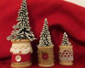Trio of Vintage Spool Christmas Trees, Christmas Decorations, Christmas Shelf Sitters, Miniature Christmas Trees, Rustic Christmas