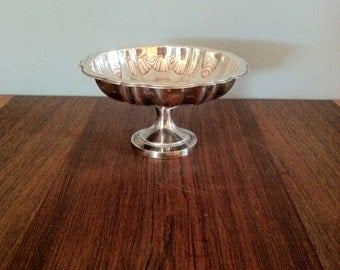 Small Vintage Pedestal Silver Plated Candy Dish