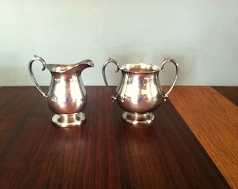 Vintage Cream and Sugar Silver Plated Set Made by Crescent