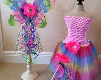 Rainbow Wings, Pink Fairy Costume, Fairy Costume, Tinkerbell Costume, Fairy Party Favors, Fairy Wands, Fairy Birthday