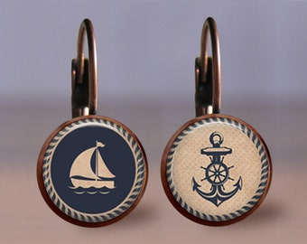 Earrings - Jewelry - 12mm Nautical Ship Anchor - Your Choice of Finish & Style - Post or Leverback - Bronze Copper Gunmetal Silver - Studs
