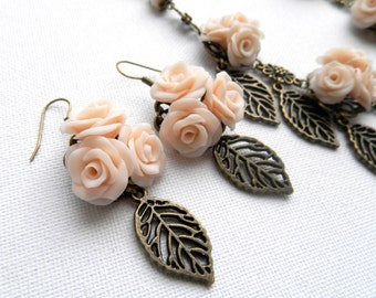Flower Jewelry, Wedding Jewelry, Roses, Romantic Jewelry, Statement Necklace, Flower Dangle Earrings, Leaf Jewelry, Handmade Jewelry