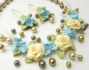 Pastel Jewelry, Flower Jewelry, Wedding Jewelry, Pearl Jewelry, Statement Necklace, Flower Dangle Earrings, Gift For Her, Jewelry Set,Floral