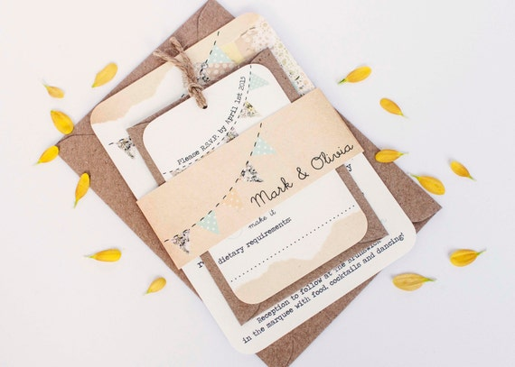 Country bunting wedding-invitation - lemon mint gem pearl