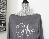 MRS Shirt Sweatshirt. Wifey, Mrs.,Bride Off Shoulder Shirt. I Do, Bachelorette Party Black shirt. Bridal Shower Gift. Bride Gift.