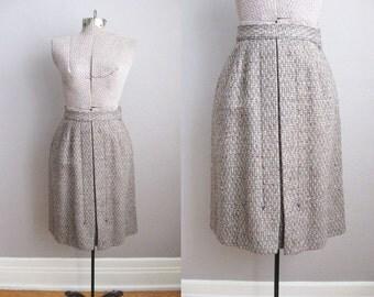 1940s Skirt Grey Tweed Wool 40s Jantzen Vintage Wool Skirt / XS Small