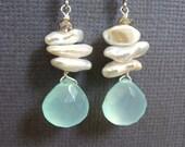 Aqua Chalcedony Earring, Shell earrings, Dangling, Beach Jewelry, Ocean Summer Beach wedding.