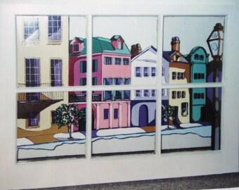Rainbow Row, Window Painting, Charleston Art, Original Painting, Wall Hanging, Home Decor, South Carolina, Vintage Window, Coastal Art