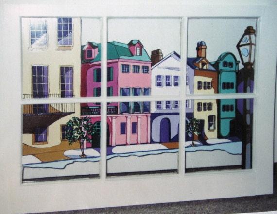 Rainbow Row Window Painting Charleston Art Original By Petzoup