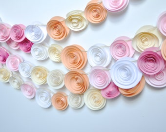 Wedding Garland Paper Flowers peach, Ivory, white pink 12 feet