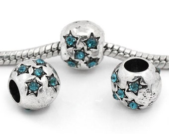 4 Pieces Antique Silver Star Carved Blue Rhinestone European Charm Beads