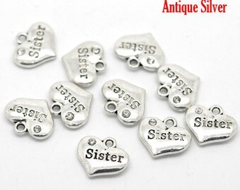 4 Pieces Antique Silver Heart Sister Charms