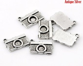 10 Pieces Antique Silver Camera Charms