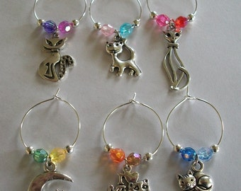 Set of 6 Cute Cat Wine Charms