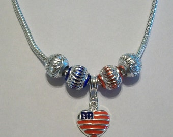 Pretty Silver Plated Red & Blue Enamel American Flag Dangle European Necklace