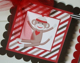 Sock Monkey Birthday Banner - Red and Brown, Sock Monkey Birthday Party