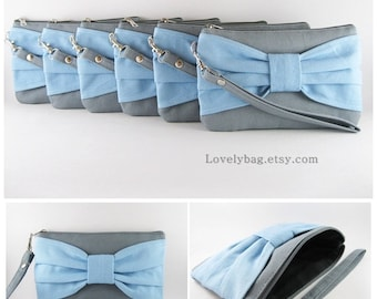 SUPER SALE - Set of 5 Gray with Light Blue Bow Clutch - Bridal Clutches, Bridesmaid Clutch, Bridesmaid Wristlet,Wedding Gift - Made To Order