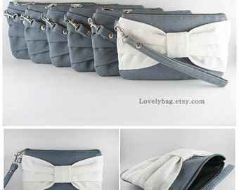 Set of 8 Clutch Bridesmaids, Clutch Wedding / ( 7 Grey Bow and 1 Ivory Bow ) - MADE TO ORDER