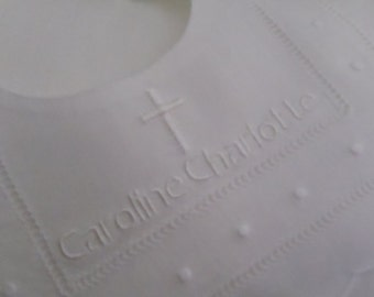 Babies Personalized  Linen Swiss Dot Bib Embroidered in white great for Sunday Church, Christening, Easter or Weddings