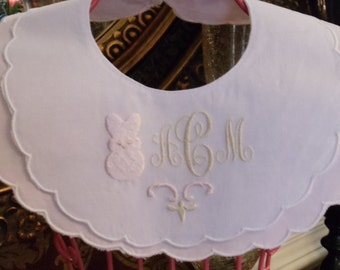 Monogrammed Pink and White Double Scalloped Cotton Easter Bib