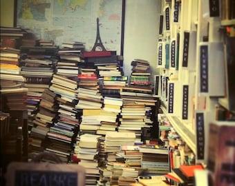 Bookstore photo print 8 x 8 professional print. books showcase world map