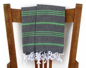 Kitchen Hand Towel Set LAWN PESHKIR 2 Handwoven Cotton Turkish Towel Turkey Towel Bath Towel Bathroom Yoga Spa Towel Guest Towel Black Green