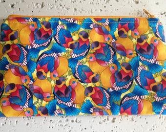 Stained Glass Birds Fabric Zipper Pouch/Gadget Bag