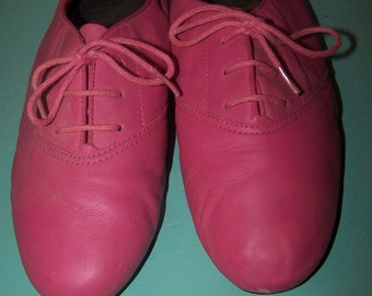 Vintage Sam & Libby Pink Leather Tie Up Shoes Size 7 1/2