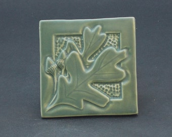 Arts and Crafts, Mission Style, Oak Leaf and Acorn Hand Made Green Matte Tile
