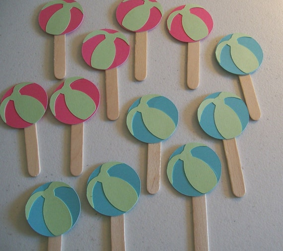 Beach Ball Cupcake Toppers Beach And Pool Party By