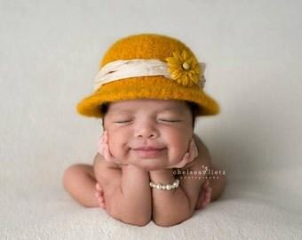 SUNSHINE Felted Newborn Hat  ~ Bowler  ~ Felted Bowler ~ Baby felt hat ~ Hand knit  felt ~ Organic ~ prop~infant prop~baby hat
