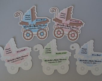 Unique Personalized Baby Buggy Baby Shower Party Favor Gift Tags