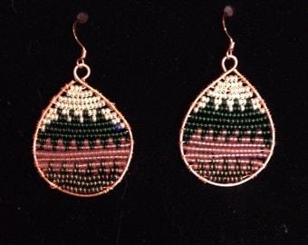 Chevron Wire-wrapped beaded earrings