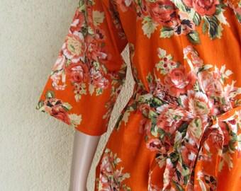 Bridesmaid Robe Kimono. Bright Orange with Floral Print. Spa robe. Getting Ready Robe, Everyday Soft Cotton Robe. MOH gift. Bridesmaid Gift