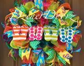 Whimsical Flip Flop Summer Mesh Wreath, Summer Wreath, Deco Mesh Wreath, Flip Flop Wreath